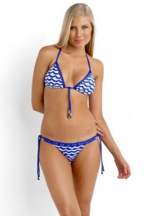 Tidal Wave Slide Triangle Bikini Top with Brazilian Tie Side Black Blue with White