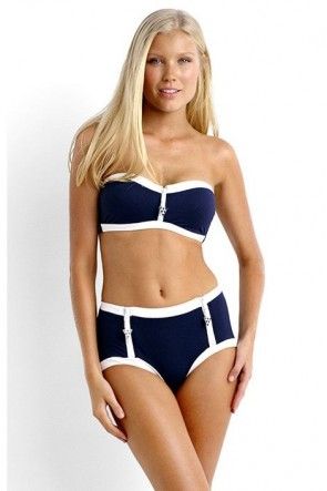 Block Party Bandeau Bustier Bikini Top with High Waist Pant