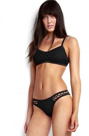 Mesh About Sports Bikini Tank Top with High Cut Brazilian Bikini Pant- Black