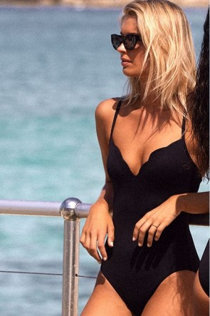 Petal Edge Sweetheart One Piece Black Seafolly