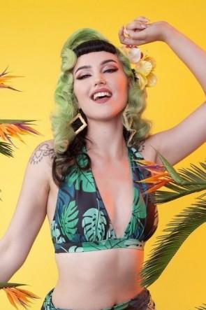 Palm Ruched Triagle Bikini Top