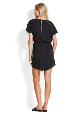 Ladder Tape Playsuit Black