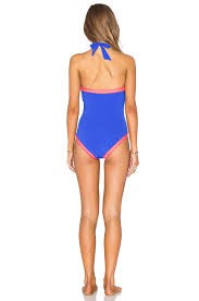 SUMMER VIBE HIGH NECK MAILLOT- BLUE