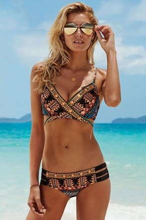 Spice Temple Wrap Front Booster with Multi Strap Hipster Seafolly