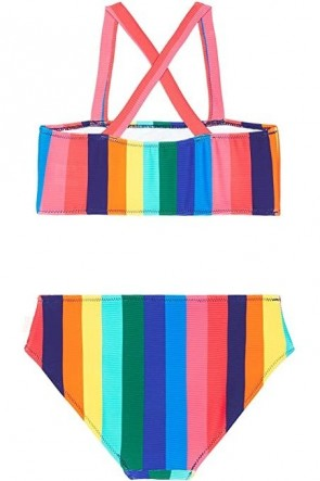 Multi Rainbow Crush Stripe Tube Bikni Set