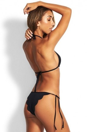 Petal Edge Fixed Tri Brazilian Bikini Set Seafolly Black