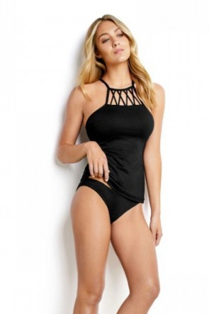 Seafolly C/D High Neck Singlet Black - Seafolly