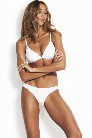 Essentials Fixed Tri Bra Hipster Bikini Set White