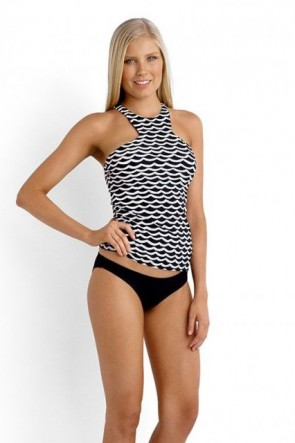 Tida Wave High Neck Singlet Tankini Seafolly with Mini Hipster Bikini Pant