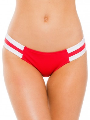 Block Party Spliced Hipster Bikini Pant - Red Chilli