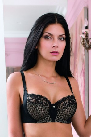 Bra with soft cups and lateral support Black