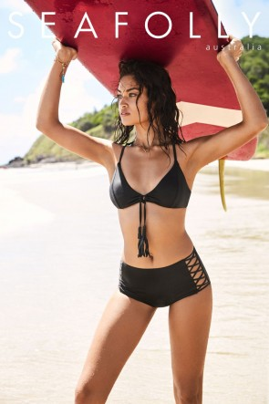 Seafolly Loop Front Bralette Top with High Waisted Lattice Pant Seafolly BLACK
