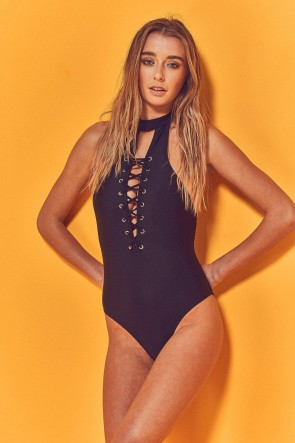 Kira High Neck Lace Up One Piece