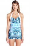 Inked Stripe Boyleg One Piece Swimsuit