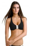 Block Party D-DD Cup Halter Bikini Top Black Seafolly