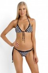 Tidal Wave Slide Triangle Bikini Top with Brazilian Tie Side Black