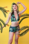 Green Palm Bikini Set Black