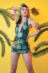 Collectif Green Palm Skirted One Piece Swimsuit
