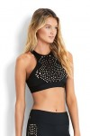 Spice Temple High Neck Tank Top Black Seafolly