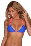 Water Lily Top - Brandeis Blue & Neon Coral